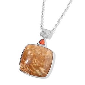 Fossil Coral, Simulated Red Diamond Silvertone Pendant With Stainless Steel Chain (24 in) TGW 53.90 cts.