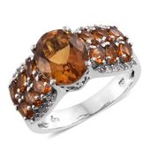 Dan's Collector Deal Santa Ana Madeira Citrine, Cambodian Zircon Platinum Over Sterling Silver Ring (Size 5.0) TGW 6.12 cts.