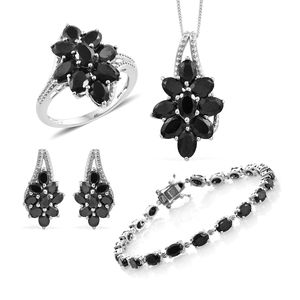 Thai Black Spinel Platinum Over Sterling Silver Split Floral Bracelet (7.50 in), Earrings, Ring (Size 5) Pendant With Chain (18.00 In) TGW 30.00 cts.