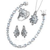 Mega Clearance Sky Blue Topaz Platinum Over Sterling Silver Split Floral Bracelet (7.50 in), Earrings, Ring (Size 5) and Pendant With Chain (18.00 In) TGW 25.94 cts.