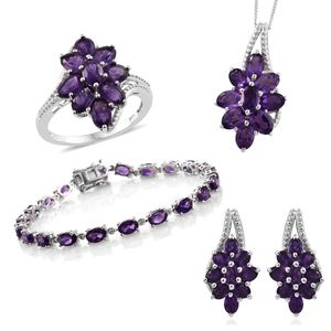 Mega Doorbuster Amethyst Platinum Over Sterling Silver Split Floral Bracelet (7.50 in), Earrings, Ring (Size 8) Pendant With Chain (20.00 In) TGW 19.54 cts.