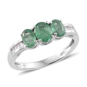 Kagem Zambian Emerald, White Topaz Platinum Over Sterling Silver Ring (Size 6.0) TGW 1.90 cts.