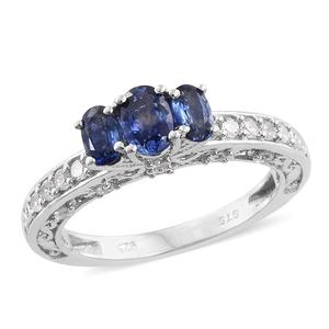 Ceylon Blue Sapphire, Cambodian Zircon Platinum Over Sterling Silver Crown Ring (Size 7.0) TGW 1.91 cts.