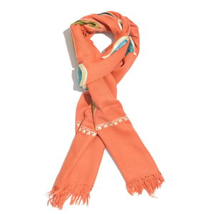 Orange Butterfly Embroidered 100% Merino Wool Scarf (80x28 in)
