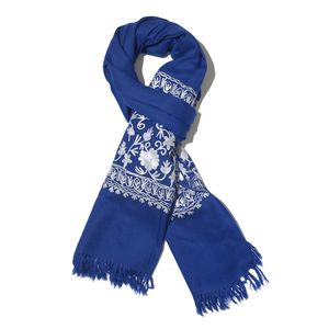 Blue Embroidered 100% Merino Wool Scarf (80x28 in)