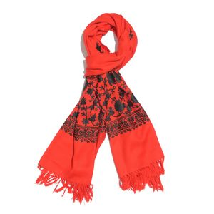 Red Embroidered 100% Merino Wool Scarf (80x28 in)