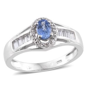 Ceylon Blue Sapphire, White Topaz Platinum Over Sterling Silver Ring (Size 9.0) TGW 1.15 cts.