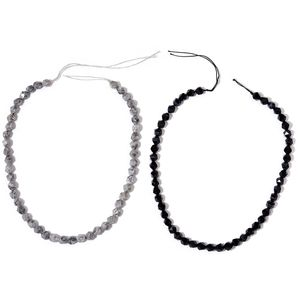 Gem Workshop Black Lace Agate, Enhanced Black Agate Beads Set of 2 String (15 in) TGW 247.00 cts.