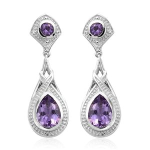 KARIS Collection - Bolivian Amethyst Platinum Bond Brass Drop Earrings TGW 3.80 cts.