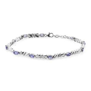 Premium AAA Tanzanite Platinum Over Sterling Silver Bracelet (8.00 In) TGW 2.42 cts.