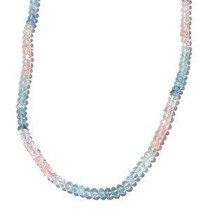 Super Saturday Mega Doorbuster Multi Aquamarine Beads Sterling Silver Necklace (18 in) TGW 53.60 cts.