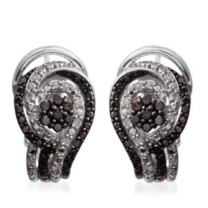 Black Diamond (IR), Diamond Sterling Silver Earrings TDiaWt 0.33 cts, TGW 0.33 cts.