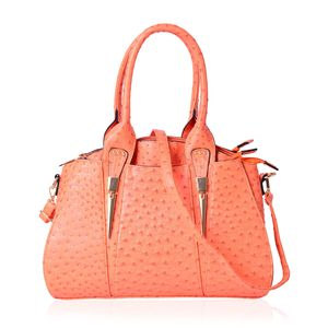 Orange Ostrich Pattern Faux Leather Tote Bag (14.6x5x11 in)