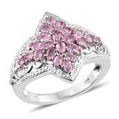 Mahenge Pink Spinel Platinum Over Sterling Silver Ring (Size 6.0) TGW 1.64 cts.
