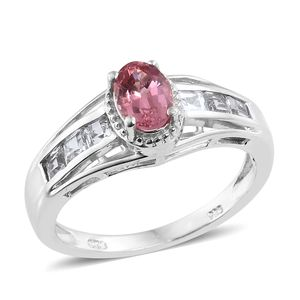 Mahenge Pink Spinel, White Topaz Platinum Over Sterling Silver Ring (Size 7.0) TGW 1.73 cts.