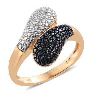 KARIS Collection - Blue Diamond (IR), Diamond ION Plated 18K YG Brass Bypass Accent Ring (Size 5.0)