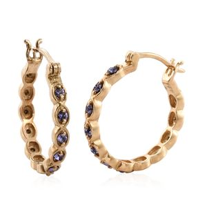KARIS Collection - ION Plated 18K YG Brass Earrings Made with SWAROVSKI Tanzanite Crystal TGW 0.62 cts.