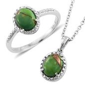 Mojave Green Turquoise Stainless Steel Ring (Size 8) and Pendant With Chain (20 in) TGW 3.48 cts.