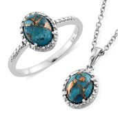 Ankur's Treasure Chest Mojave Blue Turquoise Stainless Steel Ring (Size 7) and Pendant With Chain (20 in) TGW 3.66 cts.