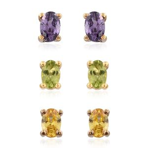 Hebei Peridot, Simulared Purple and Yellow Diamond ION Plated YG Stainless Steel Set of 3 Stud Earrings TGW 3.60 cts.