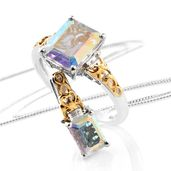 Mercury Mystic Topaz, White Topaz 14K YG and Platinum Over Sterling Silver Ring (Size 7) and Pendant With Chain (20 in) TGW 7.40 cts.