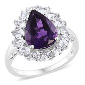 Tony's Collector Show Moroccan Amethyst, White Topaz Platinum Over Sterling Silver Ring (Size 6.0) TGW 7.90 cts.