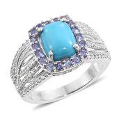 Arizona Sleeping Beauty Turquoise, Tanzanite, Cambodian Zircon Platinum Over Sterling Silver Ring (Size 6.0) TGW 3.44 cts.