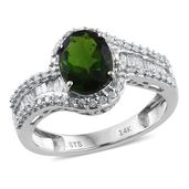 14K WG Russian Diopside, Diamond Ring (Size 8.0) TDiaWt 0.47 cts, TGW 2.37 cts.