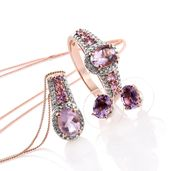 Rose De France Amethyst, Madagascar Pink Sapphire, Diamond Accent 14K RG Over Sterling Silver Earrings, Ring (Size 8) and Pendant With Chain (20 in) TGW 4.59 cts.
