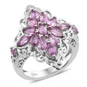 Madagascar Pink Sapphire Platinum Over Sterling Silver Cluster Ring (Size 10.0) TGW 2.37 cts.