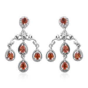 MEGA CLEARANCE Red Sapphire, Cambodian Zircon Platinum Over Sterling Silver Dangle Earrings TGW 2.23 cts.