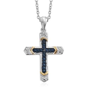 KARIS Collection - Blue Diamond (IR) Platinum Bond Brass Cross Pendant With Stainless Steel Chain (20 in)