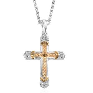 KARIS Collection - Yellow Diamond (IR) Accent Platinum Bond Brass Cross Pendant With Stainless Steel Chain (20 in)