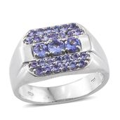 Premium AAA Tanzanite Platinum Over Sterling Silver Men's Ring (Size 12.0) TGW 2.20 cts.