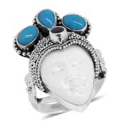 TLV Bali Goddess Collection Carved Bone, Multi Gemstone Sterling Silver Princess Ring (Size 11.0) TGW 14.60 cts.