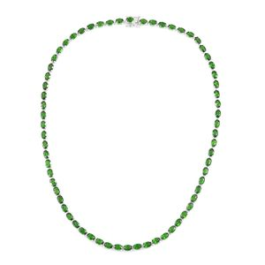 One Day TLV Russian Diopside Sterling Silver Faceted Tennis Necklace (18 in) TGW 32.90 cts.