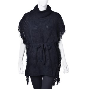 Black 100% Acrylic Turtle Neck Knitted Poncho with Fringes and Removable Fashion Strap (One Size)