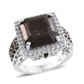 Chocolate Sapphire, Brazilian Smoky Quartz, Cambodian Zircon Platinum Over Sterling Silver Cocktail Ring (Size 5.0) TGW 12.15 cts.