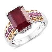 Niassa Ruby 14K YG and Platinum Over Sterling Silver Ring (Size 5.0) TGW 7.60 cts.