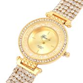 GENOA Austrian Crystal Japanese Movement Multi Stand Bracelet Watch in Goldtone with Stainless Steel Back (7.75in)