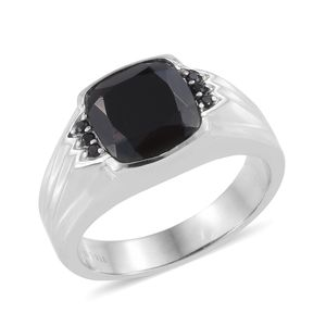Thai Black Spinel Stainless Steel Men's Ring (Size 14.0) TGW 8.17 cts.