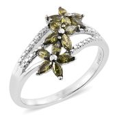Simulated Green Diamond Stainless Steel Floral Ring (Size 10.0) TGW 1.75 cts.
