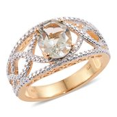 KARIS Collection - Green Amethyst ION Plated 18K YG Brass Ring (Size 11.0) TGW 2.20 cts.