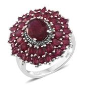 Srikant's Showstopper Niassa Ruby Platinum Over Sterling Silver Flower Ring (Size 10.0) TGW 9.33 cts.
