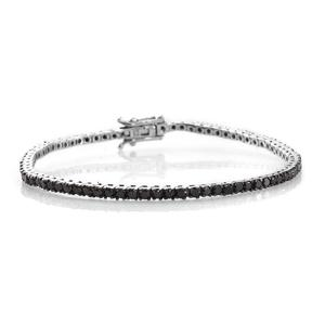 Black Diamond (IR) Platinum Over Sterling Silver Tennis Bracelet with Open Box Clasp (7.50 In) TDiaWt 4.00 cts, TGW 4.00 cts.