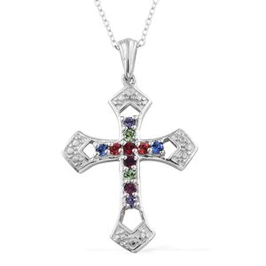 KARIS Collection - Platinum Bond Brass Cross Pendant With Stainless Steel Chain (20 in) Made with SWAROVSKI Multi Color Crystal
