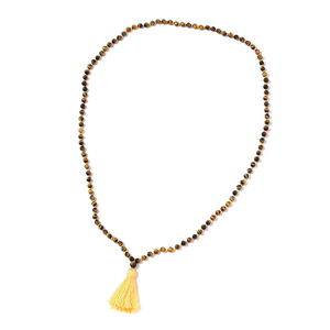 South African Tigers Eye Beads Necklace with Tassel (36 in) TGW 214.50 cts.