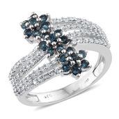 Monte Belo Indicolite, Cambodian Zircon Platinum Over Sterling Silver Ring (Size 9.0) TGW 1.48 cts.