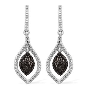 KARIS Collection - Black Diamond (IR) Accent ION Plated Black and Platinum Bond Brass Dangle Earrings