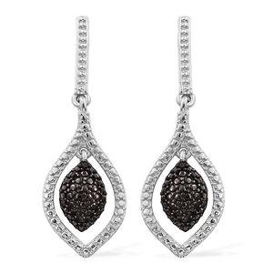 Black Diamond (IR) Accent ION Plated Black and Platinum Bond Brass Dangle Earrings